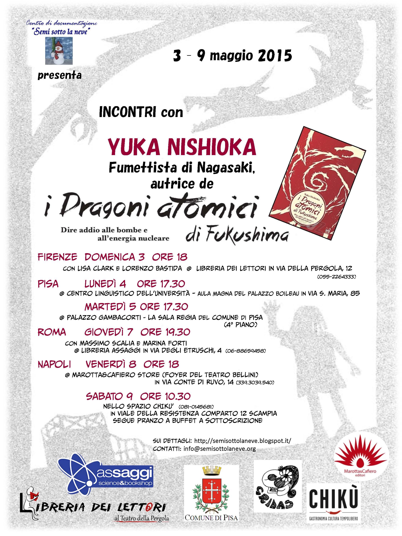 la locandina per tutti i 6 incontri di Yuka Nishioka in Italia